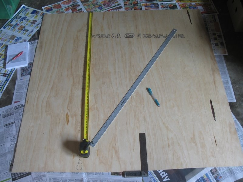 Measuring out rough dimensions for the board