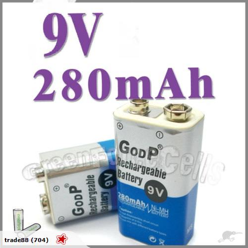 Godp 9v 280mah rechargeable battery