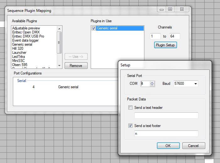 Vixen tonic generic serial output plugin settings