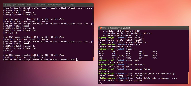 Sending files via rsync between pc and raspberry pi