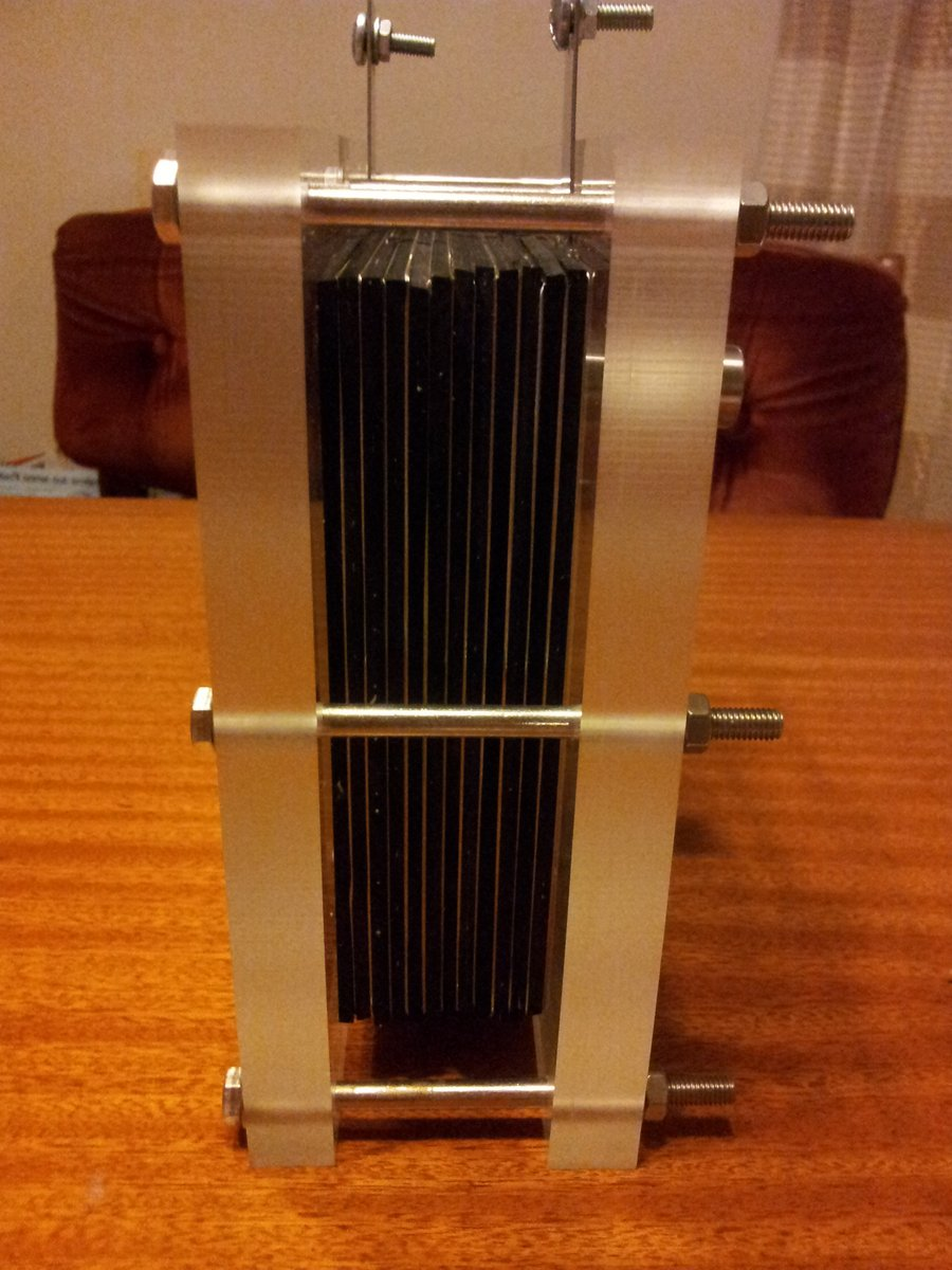 Fuel cell bolted together side view