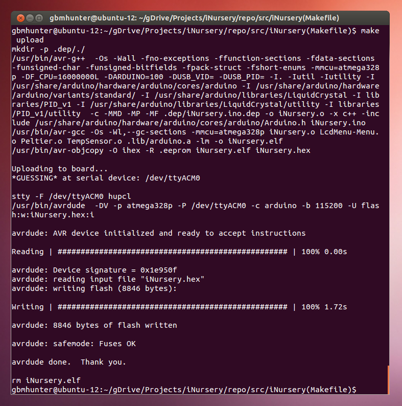 Using arduino make file to compile and upload in ubuntu