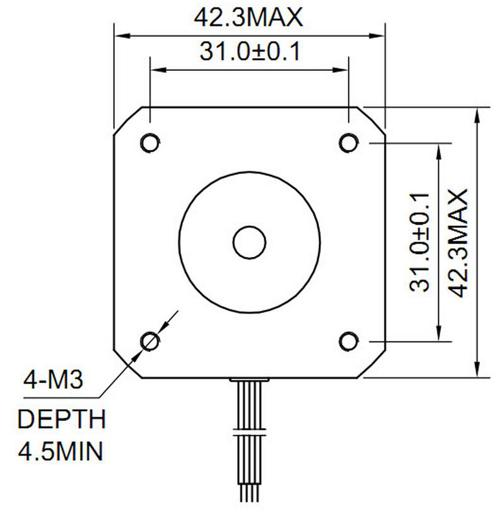 The NEMA17 mounting hole dimensions .The dimensions are in millimeters. Image from http://www.xylotex.com/FAQ.htm.