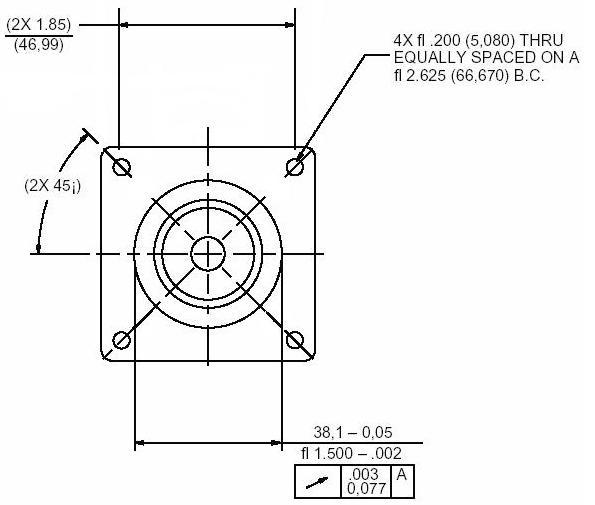 The NEMA23 mounting hole dimensions .The dimensions are in inches. Image from http://www.xylotex.com/FAQ.htm.