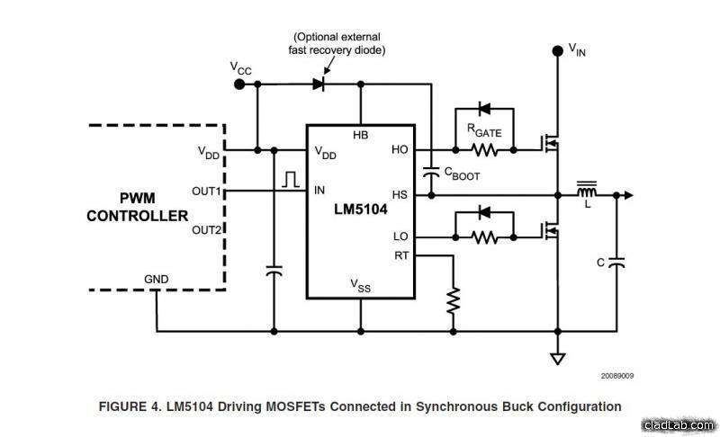Example half-bridge circuit for the LM5104 half-bridge controller.
