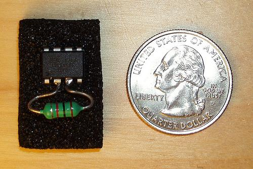 A RFID tag made from a single Atmel ATtiny and inductor! Image from http://scanlime.org/2008/09/using-an-avr-as-an-rfid-tag/.