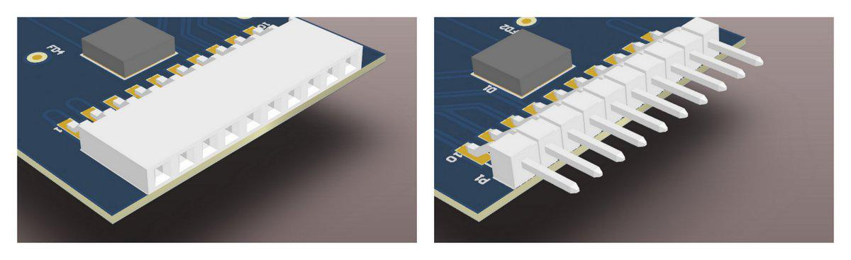 Header plugs and jacks (male and female parts) are a good way of connecting PCB's together.