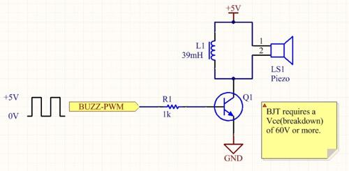 An easy and loud way to drive a piezo speaker using an inductor in parallel with the piezo and a NPN BJT.