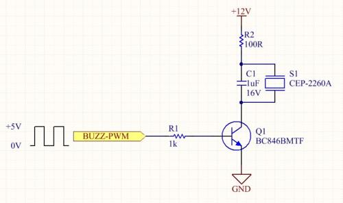 The schematic of an internally driven piezo volume control circuit.