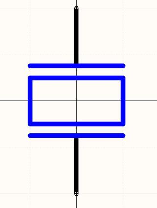 The schematic symbol for a piezo speaker.