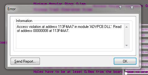 An access violation error message which can occur when using Altium.