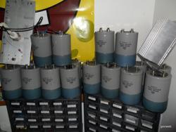 The collection of large capacitors.