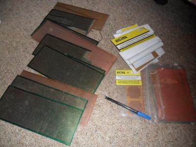Collection of proto-typing and solid copper boards for making up circuits.
