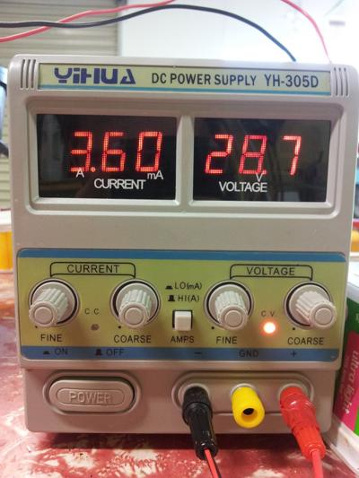A single channel DC power supply with variable voltage and current controls.