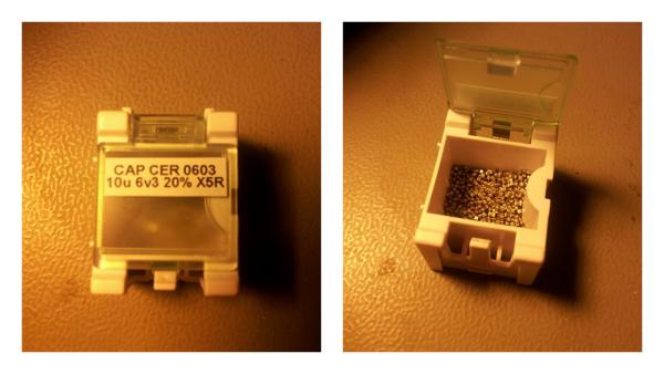 A container from DealExtreme used for holding SMD components (capacitors in this picture)