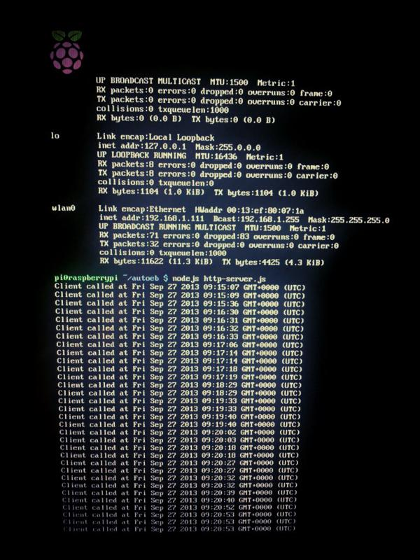 The terminal output when a client visits the node.js server running on the RaspberryPi.