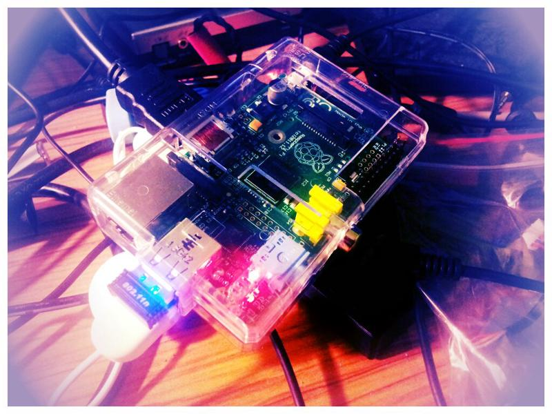 The RaspberryPi while testing.