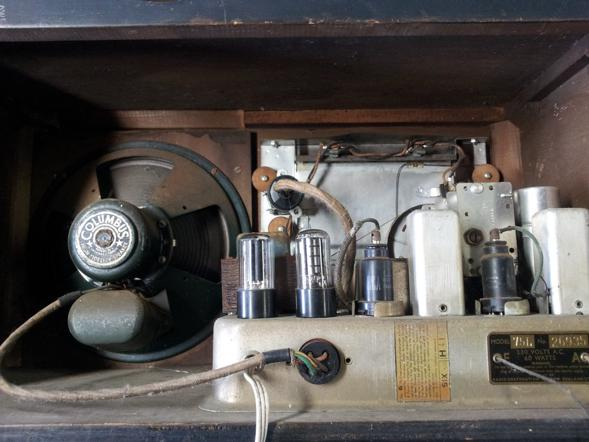 The original rear of the cabinet. Valves, air capacitors and pully systems!