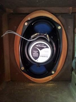 Installing the front 6x9 speaker.