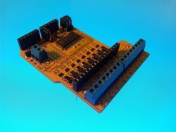 The Freetronics 8-channel relay driver shield for the Arduino.