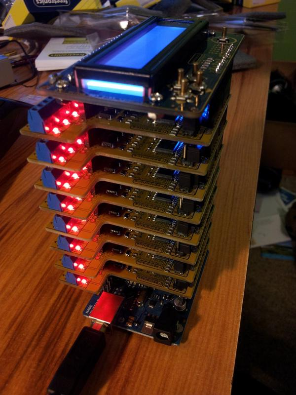 A Ardunio stack with the Uno (at bottom), 8 relay shields, and an LCD shield on-top.