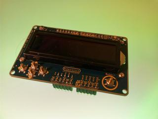 The Freetronics LCD shield for the Arduino. This was used to display running information to the user.
