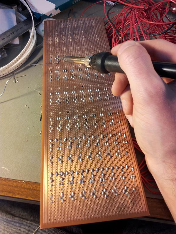 Soldering up the prototype board.