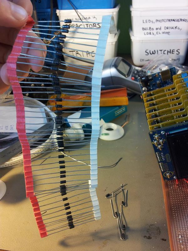 String of diodes for quenching the inductive kick of the solenoids.