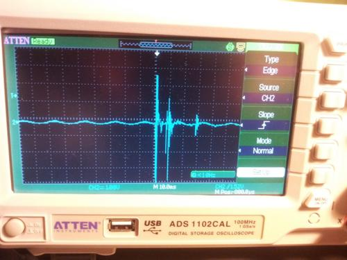 The voltage when giving the piezo a small whack from the end of a screw driver.