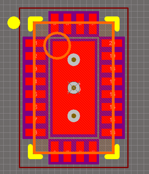 The footprint wizard in Altium has automatically added three thermal vias to this QFN package.