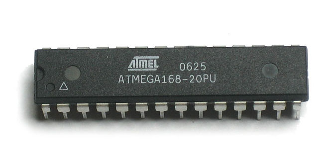 A photo of the Atmel AVR ATmega168 microcontroller. Image from https://wolfpaulus.com.