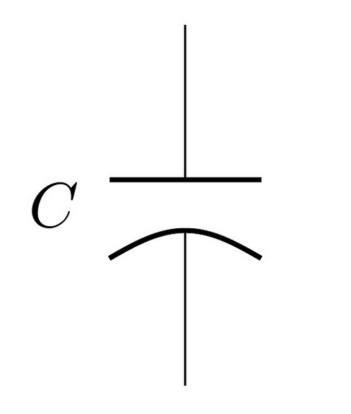 The schematic symbol for a polarised capacitor.