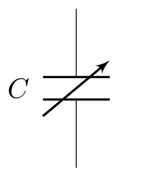 The schematic symbol for a variable capacitor.