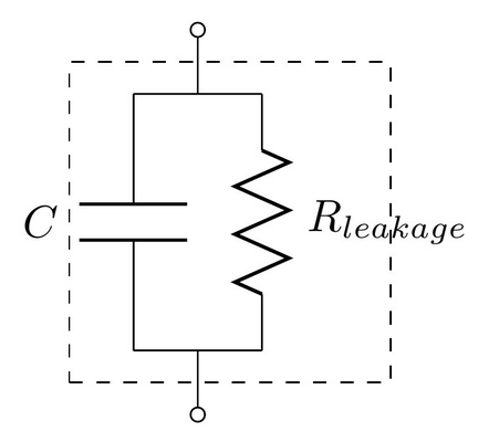 A capacitor showing the parasitic series resistance present in all real capacitors, which creates a leakage current.