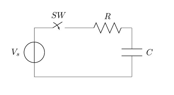 A schematic showing the basic circuit while charging a capacitor, highlighting the energy lost in the series resistance.