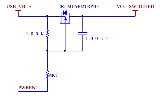 Limiting the USB inrush current by slowing down the turn-on of a MOSFET with a RC circuit. Image from http://www.ftdichip.com/Support/Documents/AppNotes/AN_146_USB_Hardware_Design_Guidelines_for_FTDI_ICs.pdf.