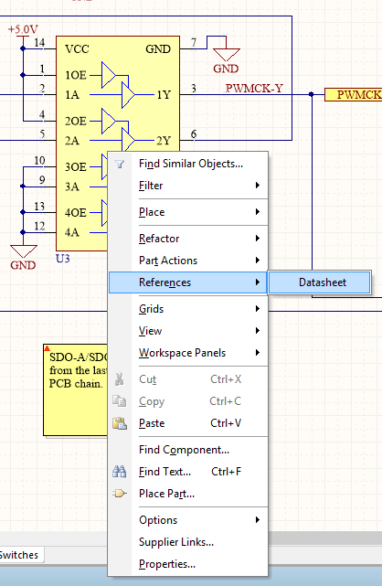 Quickly going to the component datasheet by using a component link parameter in Alitum.