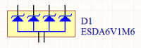 The schematic symbol of a diode array, with a common anode connection.