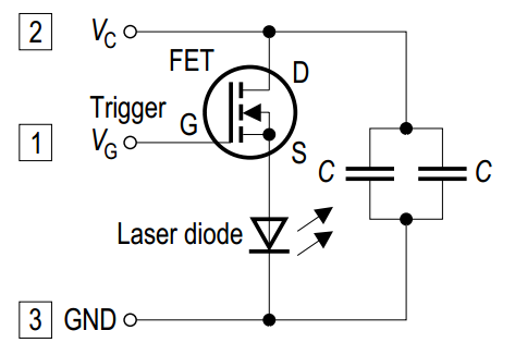 A laser diode with an integrated FET and capacitor for high-seed, high-power switching.
