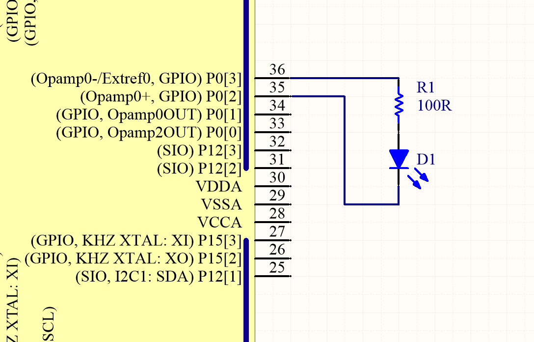 Schematic showing how to connect an LED to a general microcontroller for light detection. The LED and resistor are connected to GPIO pins.
