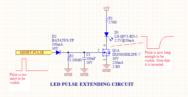 The schematic for a LED pulse width extending circuit. It converts a short pulse that would not be seen into a longer pulse which is visible.