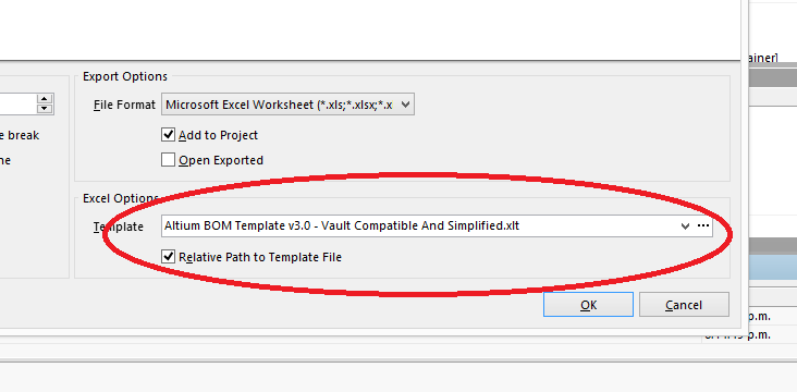 The field in the BOM configuration window that allows you to specify a Excel template file.