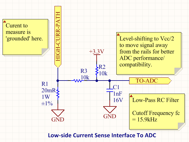 A schematic for a low-side current sensing circuit that can be connected to a microcontroller/MCU ADC.