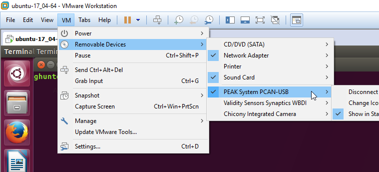 Screenshot showing a PCAN-USB device connected to Ubuntu running inside VMware.