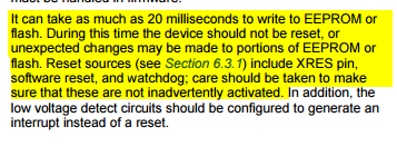 A screenshot taken from the PSoC 5 LP datasheet, stating care must be taken when using the watchdog in an application that also performs EEPROM or flash writes.