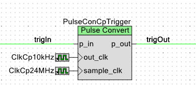 The PSoC Pulse Converter component, being used here to output constant-width pulses.