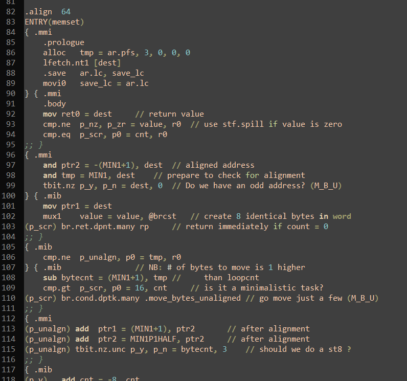 An example of assembly code from the glibc library (an optimised memcpy() function).