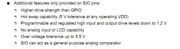 Information on the SIO pins from a PSoC datasheet.