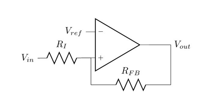 A schematic of a comparator in the non-inverting configuration.