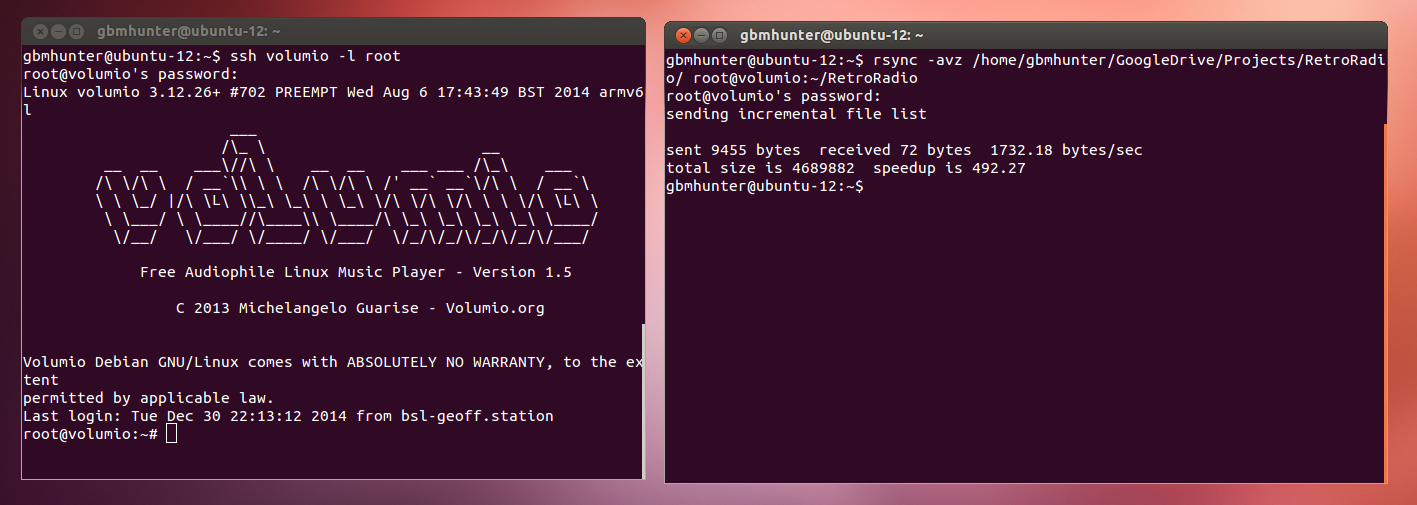Copying the repository to the RaspberryPi using rsync, and then loading the code through SSH.